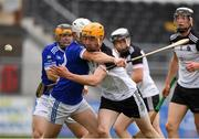 1 August 2020; Rob Malone of Mullinavat in action against Eoin Brennan of Erins Own during the Kilkenny County Senior Hurling League Group B match between Erins Own and Mullinavat at UPMC Nowlan Park in Kilkenny. GAA matches continue to take place in front of a limited number of people due to the ongoing Coronavirus restrictions. Photo by Matt Browne/Sportsfile