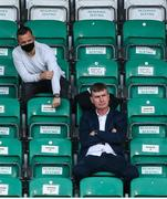 1 August 2020; Republic of Ireland manager Stephen Kenny and League of Ireland Director Mark Scanlon, top, during the SSE Airtricity League Premier Division match between Shamrock Rovers and Finn Harps at Tallaght Stadium in Dublin. The SSE Airtricity League Premier Division made its return this weekend after 146 days in lockdown but behind closed doors due to the ongoing Coronavirus restrictions. Photo by Stephen McCarthy/Sportsfile