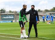1 August 2020; Injured Shamrock Rovers player Greg Bolger with manager Stephen Bradley prior to the SSE Airtricity League Premier Division match between Shamrock Rovers and Finn Harps at Tallaght Stadium in Dublin. The SSE Airtricity League Premier Division made its return this weekend after 146 days in lockdown but behind closed doors due to the ongoing Coronavirus restrictions. Photo by Stephen McCarthy/Sportsfile