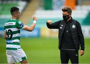 1 August 2020; Shamrock Rovers sporting director Stephen McPhail and Aaron McEneff following the SSE Airtricity League Premier Division match between Shamrock Rovers and Finn Harps at Tallaght Stadium in Dublin. The SSE Airtricity League Premier Division made its return this weekend after 146 days in lockdown but behind closed doors due to the ongoing Coronavirus restrictions. Photo by Stephen McCarthy/Sportsfile
