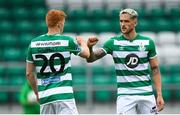 1 August 2020; Lee Grace and his Shamrock Rovers team-mate Rory Gaffney, left, following the SSE Airtricity League Premier Division match between Shamrock Rovers and Finn Harps at Tallaght Stadium in Dublin. The SSE Airtricity League Premier Division made its return this weekend after 146 days in lockdown but behind closed doors due to the ongoing Coronavirus restrictions. Photo by Stephen McCarthy/Sportsfile