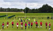 3 August 2020; Players warm-up during a Republic of Ireland Under 15s Assessment Day at the FAI National Training Centre at the Sport Ireland Campus in Dublin. Photo by Ramsey Cardy/Sportsfile