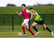 3 August 2020; Daniel McGrath, red, during a Republic of Ireland Under 15s Assessment Day at the FAI National Training Centre at the Sport Ireland Campus in Dublin. Photo by Ramsey Cardy/Sportsfile