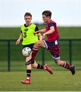 3 August 2020; Ultan McLaughlin, red, in action against Cian Spillane, yellow, during a Republic of Ireland Under 15s Assessment Day at the FAI National Training Centre at the Sport Ireland Campus in Dublin. Photo by Ramsey Cardy/Sportsfile