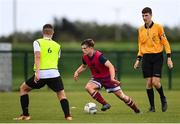 3 August 2020; Ultan McLaughlin, red, during a Republic of Ireland Under 15s Assessment Day at the FAI National Training Centre at the Sport Ireland Campus in Dublin. Photo by Ramsey Cardy/Sportsfile