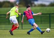 3 August 2020; Sean Patton, red, during a Republic of Ireland Under 15s Assessment Day at the FAI National Training Centre at the Sport Ireland Campus in Dublin. Photo by Ramsey Cardy/Sportsfile