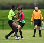3 August 2020; Daniel Isichei, yellow, in action against Naj Razi, red, during a Republic of Ireland Under 15s Assessment Day at the FAI National Training Centre at the Sport Ireland Campus in Dublin. Photo by Ramsey Cardy/Sportsfile