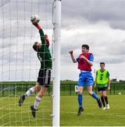 3 August 2020; Goalkeeper Robert Barry makes a save from Sean Patton, red, during a Republic of Ireland Under 15s Assessment Day at the FAI National Training Centre at the Sport Ireland Campus in Dublin. Photo by Ramsey Cardy/Sportsfile