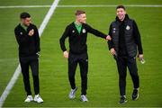 1 August 2020; Shamrock Rovers players, from left, Dean Williams, Brandon Kavanagh and Sean Callan prior to the SSE Airtricity League Premier Division match between Shamrock Rovers and Finn Harps at Tallaght Stadium in Dublin. The SSE Airtricity League Premier Division made its return this weekend after 146 days in lockdown but behind closed doors due to the ongoing Coronavirus restrictions. Photo by Stephen McCarthy/Sportsfile