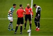 1 August 2020; Referee Neil Doyle with Finn Harps captain Mark McGinley and Shamrock Rovers captain Ronan Finn prior to the SSE Airtricity League Premier Division match between Shamrock Rovers and Finn Harps at Tallaght Stadium in Dublin. The SSE Airtricity League Premier Division made its return this weekend after 146 days in lockdown but behind closed doors due to the ongoing Coronavirus restrictions. Photo by Stephen McCarthy/Sportsfile