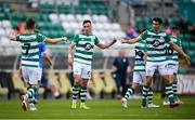 1 August 2020; Aaron McEneff is congratulated by his Shamrock Rovers team-mates Dylan Watts, left, and Neil Farrugia after scoring their third goal during the SSE Airtricity League Premier Division match between Shamrock Rovers and Finn Harps at Tallaght Stadium in Dublin. The SSE Airtricity League Premier Division made its return this weekend after 146 days in lockdown but behind closed doors due to the ongoing Coronavirus restrictions. Photo by Stephen McCarthy/Sportsfile