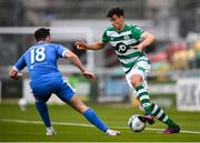 1 August 2020; Neil Farrugia of Shamrock Rovers and Leo Donnellan of Finn Harps during the SSE Airtricity League Premier Division match between Shamrock Rovers and Finn Harps at Tallaght Stadium in Dublin. The SSE Airtricity League Premier Division made its return this weekend after 146 days in lockdown but behind closed doors due to the ongoing Coronavirus restrictions. Photo by Stephen McCarthy/Sportsfile