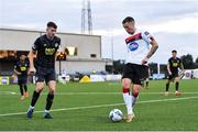 31 July 2020; Patrick McEleney of Dundalk in action against Rory Feely of St Patrick's Athletic during the SSE Airtricity League Premier Division match between Dundalk and St Patrick's Athletic at Oriel Park in Dundalk, Louth. The SSE Airtricity League Premier Division made its return today after 146 days in lockdown but behind closed doors due to the ongoing Coronavirus restrictions. Photo by Piaras Ó Mídheach/Sportsfile