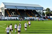 31 July 2020; Dundalk players make their way onto the pitch for the first half of the SSE Airtricity League Premier Division match between Dundalk and St Patrick's Athletic at Oriel Park in Dundalk, Louth. The SSE Airtricity League Premier Division made its return today after 146 days in lockdown but behind closed doors due to the ongoing Coronavirus restrictions. Photo by Piaras Ó Mídheach/Sportsfile