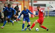 1 August 2020; Alistair Coote of Waterford, centre, in action against Gary Deegan of Shelbourne during the SSE Airtricity League Premier Division match between Shelbourne and Waterford at Tolka Park in Dublin. The SSE Airtricity League Premier Division made its return this weekend after 146 days in lockdown but behind closed doors due to the ongoing Coronavirus restrictions. Photo by Seb Daly/Sportsfile
