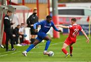 1 August 2020; Oluwatunmise Sobowale of Waterford in action against Alex Cetiner of Shelbourne during the SSE Airtricity League Premier Division match between Shelbourne and Waterford at Tolka Park in Dublin. The SSE Airtricity League Premier Division made its return this weekend after 146 days in lockdown but behind closed doors due to the ongoing Coronavirus restrictions. Photo by Seb Daly/Sportsfile