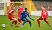 1 August 2020; Oluwatunmise Sobowale of Waterford in action against Alex Cetiner, left, and Brian McManus of Shelbourne during the SSE Airtricity League Premier Division match between Shelbourne and Waterford at Tolka Park in Dublin. The SSE Airtricity League Premier Division made its return this weekend after 146 days in lockdown but behind closed doors due to the ongoing Coronavirus restrictions. Photo by Seb Daly/Sportsfile