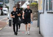 2 August 2020; Cork City players, from left, Daire O'Connor, Joseph Olowu and Kevin O'Connor arrive prior to the SSE Airtricity League Premier Division match between Cork City and Bohemians at Turners Cross in Cork. The SSE Airtricity League Premier Division made its return this weekend after 146 days in lockdown but behind closed doors due to the ongoing Coronavirus restrictions. Photo by Stephen McCarthy/Sportsfile