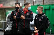 2 August 2020; Bohemians players, from left, Dinny Corcoran, Rob Cornwall and Keith Ward arrive prior to the SSE Airtricity League Premier Division match between Cork City and Bohemians at Turners Cross in Cork. The SSE Airtricity League Premier Division made its return this weekend after 146 days in lockdown but behind closed doors due to the ongoing Coronavirus restrictions. Photo by Stephen McCarthy/Sportsfile