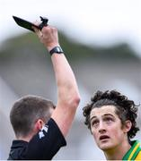 2 August 2020; Kieran Molloy of Corofin looks on as he is shown the black card by referee Thomas Murphy during the Galway County Senior Football Championship Group 4A Round 1 match between Corofin and Oughterard at Pearse Stadium in Galway. GAA matches continue to take place in front of a limited number of people due to the ongoing Coronavirus restrictions. Photo by Piaras Ó Mídheach/Sportsfile