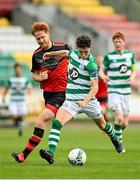 2 August 2020; John Ryan of Shamrock Rovers II in action against Hugh Douglas of Drogheda United during the SSE Airtricity League First Division match between Shamrock Rovers II and Drogheda United at Tallaght Stadium in Dublin. The SSE Airtricity League made its return this weekend after 146 days in lockdown but behind closed doors due to the ongoing Coronavirus restrictions. Photo by Seb Daly/Sportsfile