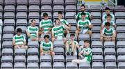 2 August 2020; Oughterard players in the stand during the half-time break in the Galway County Senior Football Championship Group 4A Round 1 match between Corofin and Oughterard at Pearse Stadium in Galway. GAA matches continue to take place in front of a limited number of people due to the ongoing Coronavirus restrictions. Photo by Piaras Ó Mídheach/Sportsfile
