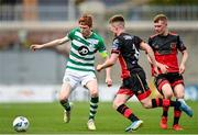 2 August 2020; Darragh Nugent of Shamrock Rovers II in action against Conor Kane, centre, and Mark Doyle of Drogheda United during the SSE Airtricity League First Division match between Shamrock Rovers II and Drogheda United at Tallaght Stadium in Dublin. The SSE Airtricity League made its return this weekend after 146 days in lockdown but behind closed doors due to the ongoing Coronavirus restrictions. Photo by Seb Daly/Sportsfile