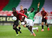 2 August 2020; Joseph Olowu of Cork City in action against Andre Wright of Bohemians during the SSE Airtricity League Premier Division match between Cork City and Bohemians at Turners Cross in Cork. The SSE Airtricity League Premier Division made its return this weekend after 146 days in lockdown but behind closed doors due to the ongoing Coronavirus restrictions. Photo by Stephen McCarthy/Sportsfile