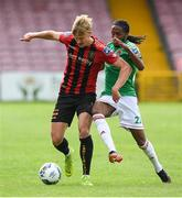 2 August 2020; Kris Twardek of Bohemians in action against Deshane Dalling of Cork City during the SSE Airtricity League Premier Division match between Cork City and Bohemians at Turners Cross in Cork. The SSE Airtricity League Premier Division made its return this weekend after 146 days in lockdown but behind closed doors due to the ongoing Coronavirus restrictions. Photo by Stephen McCarthy/Sportsfile
