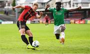2 August 2020; Kris Twardek of Bohemians in action against Henry Ochieng of Cork City during the SSE Airtricity League Premier Division match between Cork City and Bohemians at Turners Cross in Cork. The SSE Airtricity League Premier Division made its return this weekend after 146 days in lockdown but behind closed doors due to the ongoing Coronavirus restrictions. Photo by Stephen McCarthy/Sportsfile