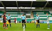 2 August 2020; Referee Adriano Reale with team captains Jake Hyland of Drogheda United, left, and Darragh Nugent of Shamrock Rovers II, and assistants Christopher Campbell, second left, and Wayne McDonnell, second right, during the coin toss prior to the SSE Airtricity League First Division match between Shamrock Rovers II and Drogheda United at Tallaght Stadium in Dublin. The SSE Airtricity League made its return this weekend after 146 days in lockdown but behind closed doors due to the ongoing Coronavirus restrictions. Photo by Seb Daly/Sportsfile