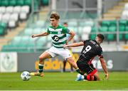 2 August 2020; Kevin Zeffi of Shamrock Rovers II in action against Chris Lyons of Drogheda United during the SSE Airtricity League First Division match between Shamrock Rovers II and Drogheda United at Tallaght Stadium in Dublin. The SSE Airtricity League made its return this weekend after 146 days in lockdown but behind closed doors due to the ongoing Coronavirus restrictions. Photo by Seb Daly/Sportsfile