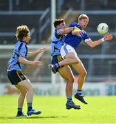 2 August 2020; Eamon O'Donnell of St Michael's in action against Mikey Culhane and Marcus Mac Donnchadha of Salthill-Knocknacarra, right, during the Galway County Senior Football Championship Group 1 Round 1 match between Salthill-Knocknacarra and St Michael's at Pearse Stadium in Galway. GAA matches continue to take place in front of a limited number of people due to the ongoing Coronavirus restrictions. Photo by Piaras Ó Mídheach/Sportsfile