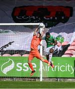 2 August 2020; Stephen McGuinness of Bohemians saves from Joseph Olowu of Cork City during the SSE Airtricity League Premier Division match between Cork City and Bohemians at Turners Cross in Cork. The SSE Airtricity League Premier Division made its return this weekend after 146 days in lockdown but behind closed doors due to the ongoing Coronavirus restrictions. Photo by Stephen McCarthy/Sportsfile
