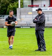 3 August 2020; Head coach Dan McFarland, right, and John Cooney during Ulster Rugby squad training at Kingspan Stadium in Belfast. Photo by Robyn McMurray for Ulster Rugby via Sportsfile