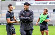 3 August 2020; Head coach Dan McFarland, centre, John Cooney, left, and Kyle McCall during Ulster Rugby squad training at Kingspan Stadium in Belfast. Photo by Robyn McMurray for Ulster Rugby via Sportsfile