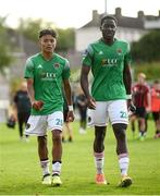 2 August 2020; Uniss Kargbo, left, and Joseph Olowu of Cork City following the SSE Airtricity League Premier Division match between Cork City and Bohemians at Turners Cross in Cork. The SSE Airtricity League Premier Division made its return this weekend after 146 days in lockdown but behind closed doors due to the ongoing Coronavirus restrictions. Photo by Stephen McCarthy/Sportsfile