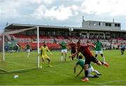 2 August 2020; Dan Casey of Bohemians heads the ball back across goal during the SSE Airtricity League Premier Division match between Cork City and Bohemians at Turners Cross in Cork. The SSE Airtricity League Premier Division made its return this weekend after 146 days in lockdown but behind closed doors due to the ongoing Coronavirus restrictions. Photo by Stephen McCarthy/Sportsfile