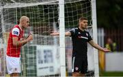3 August 2020; Georgie Kelly of St Patrick's Athletic takes a drink of water as Colm Horgan of Derry City reacts during the SSE Airtricity League Premier Division match between St Patrick's Athletic and Derry City at Richmond Park in Dublin. Photo by Stephen McCarthy/Sportsfile