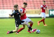 3 August 2020; Darragh Burns of St Patrick's Athletic in action against Stephen Mallon of Derry City during the SSE Airtricity League Premier Division match between St Patrick's Athletic and Derry City at Richmond Park in Dublin. Photo by Stephen McCarthy/Sportsfile