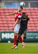 3 August 2020; Luke McNally of St Patrick's Athletic and James Akintunde of Derry City during the SSE Airtricity League Premier Division match between St Patrick's Athletic and Derry City at Richmond Park in Dublin. Photo by Stephen McCarthy/Sportsfile