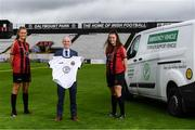 4 August 2020; Bohemian FC will for the first time compete at senior level in the Women's National League in 2020. This season the first team's kit will display the logo of Inner City Helping Homeless to help raise awareness for the local voluntary charity group that feeds the homeless of Dublin City and assists in their efforts to find shelter. At the launch in Dalymount Park is Gerry Carney, Inner City Helping Homeless, with Bohemians players and sisters Chloe, left, and Jessica Darby. Photo by Stephen McCarthy/Sportsfile