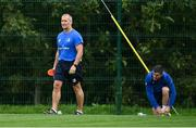 4 August 2020; Senior coach Stuart Lancaster, left, and Jonathan Sexton during Leinster Rugby squad training at UCD in Dublin. Professional rugby continues its return in a phased manner, having been suspended since March due to the ongoing Coronavirus restrictions. Having had zero positive results from the latest round of PCR testing, the Leinster Rugby players and staff have been cleared to enter the next phase of their return to rugby today which includes a graduated return to contact training. Photo by Ramsey Cardy/Sportsfile