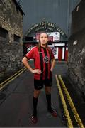 4 August 2020; Bohemian FC will for the first time compete at senior level in the Women's National League in 2020. This season the first team's kit will display the logo of Inner City Helping Homeless to help raise awareness for the local voluntary charity group that feeds the homeless of Dublin City and assists in their efforts to find shelter. At the launch in Dalymount Park is Bohemians player Chloe Darby. Photo by Stephen McCarthy/Sportsfile