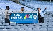 5 August 2020; On the 23rd September, the GAA invites all clubs to open their doors to the wider community and support it's first GAA National Inclusive Fitness Day. The event falls during the European Week of Sport and aims to promote sport and physical activity to everyone regardless of age, ability, ethnicity, nationality or fitness level. In attendance at the announcement of the GAA's first National Inclusive Fitness Day at Croke Park in Dublin are, from left, GAA Ambassadors Boidu Sayeh of Westmeath and Zak Moradi of Leitrim with Anne Rabbitte T.D., Minister of State Department of Children, Disability, Equality and Integration with responsibility for Disability. Photo by Brendan Moran/Sportsfile