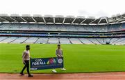 5 August 2020; On the 23rd September, the GAA invites all clubs to open their doors to the wider community and support it's first GAA National Inclusive Fitness Day. The event falls during the European Week of Sport and aims to promote sport and physical activity to everyone regardless of age, ability, ethnicity, nationality or fitness level. In attendance at the announcement of the GAA's first National Inclusive Fitness Day at Croke Park in Dublin are GAA Ambassadors Boidu Sayeh, left, Westmeath footballer and Leitrim hurler Zak Moradi. Photo by Brendan Moran/Sportsfile