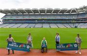 5 August 2020; On the 23rd September, the GAA invites all clubs to open their doors to the wider community and support it's first GAA National Inclusive Fitness Day. The event falls during the European Week of Sport and aims to promote sport and physical activity to everyone regardless of age, ability, ethnicity, nationality or fitness level. In attendance at the announcement of the GAA's first National Inclusive Fitness Day at Croke Park in Dublin are, from left, GAA Ambassador and Westmeath footballer Boidu Sayeh, MEP Maria Walsh, Leinster wheelchair hurler Sean Bennett, Anne Rabbitte T.D., Minister of State, Department of Children, Disability, Equality and Integration with responsibility for Disability and GAA Ambassador and Leitrim hurler Zak Moradi. Photo by Brendan Moran/Sportsfile