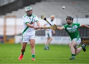 31 July 2020; Shane Walsh of Tullaroan in action against Ronan Corcoran of Ballyhale Shamrocks during the Kilkenny County Senior Hurling League Group A match between Ballyhale Shamrocks and Tullaroan at UPMC Nowlan Park in Kilkenny. GAA matches continue to take place in front of a limited number of people in an effort to contain the spread of the Coronavirus (COVID-19) pandemic. Photo by Matt Browne/Sportsfile