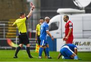 4 August 2020; Karl Sheppard of Shelbourne receives a red card from referee Damien McGrath during the SSE Airtricity League Premier Division match between Finn Harps and Shelbourne at Finn Park in Ballybofey, Donegal. Photo by Harry Murphy/Sportsfile