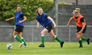 4 August 2020; Therese Kinneavey, centre, Rebecca Watkins, left, and Kerry Brown during Republic of Ireland Women's Under-17 Training Camp at Tramore AFC in Waterford. Photo by Piaras Ó Mídheach/Sportsfile